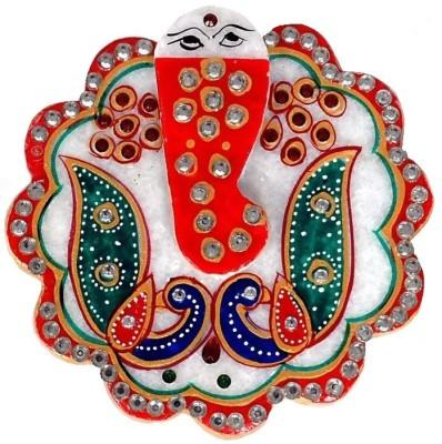 Kesar Marble Pooja & Thali Set(White, Multicolor)