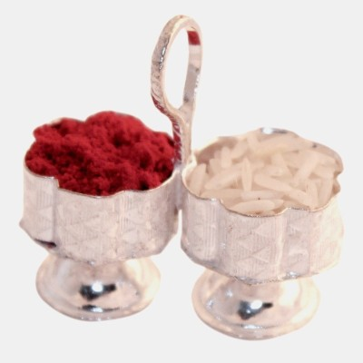 Expert Deal Naxi Roli Chawal Container Silver Pooja & Thali Set(Silver)