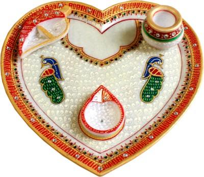 AJYODHYA CRAFT Marble Pooja & Thali Set