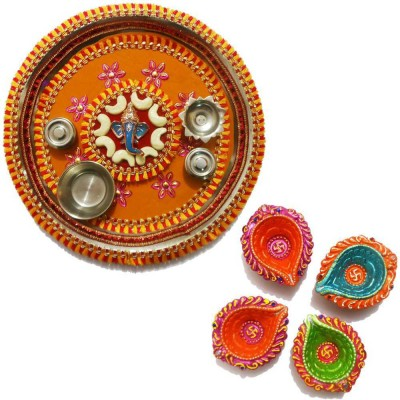 Tradition India Diwali Gift Diya TI042 Stainless Steel Pooja & Thali Set