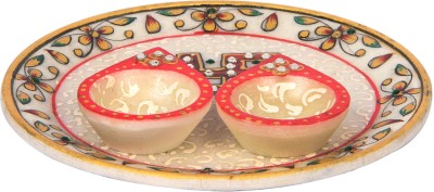 Deco Junction Marble Pooja & Thali Set