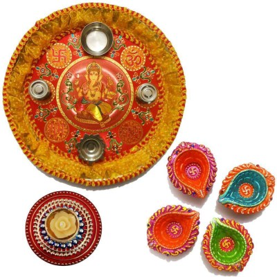 Tradition India Diwali Gift Diya TI103 Stainless Steel Pooja & Thali Set