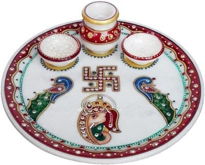 Khatu Shyam Marble Pooja thali for Rakhi and Diwali festival Marble Pooja & Thali Set(Multicolor)