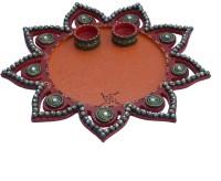 eCraftIndia Decorative Ceramic, Wooden Pooja & Thali Set(1 Pieces, Orange, Red)