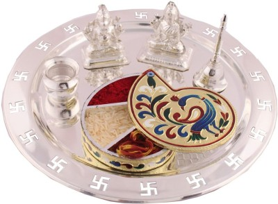 GS Museum Silver Plated, Wooden Pooja & Thali Set