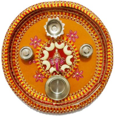 Tradition India Diwali Gift Diya TI133 Stainless Steel Pooja & Thali Set