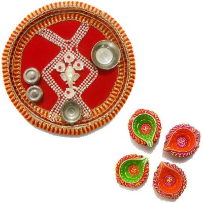 Tradition India Diwali Gift Diya TI031 Stainless Steel Pooja & Thali Set