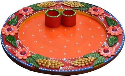 eCraftIndia Pleasing Floral Ceramic, Wooden Pooja & Thali Set