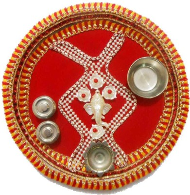 Tradition India Diwali Gift Diya TI135 Stainless Steel Pooja & Thali Set