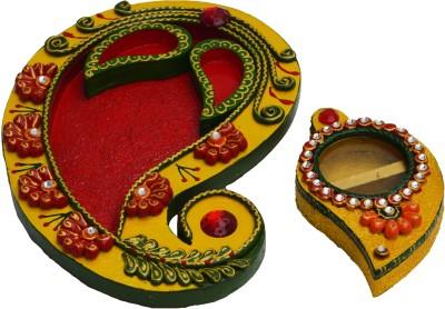 eCraftIndia Combo with Roli Tikka Chopra Ceramic, Wooden Pooja & Thali Set