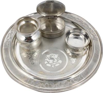 Sogani Silver Pooja & Thali Set(4 Pieces, Silver)
