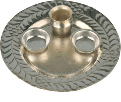 Abhushan Plate With Small Bowls Silver Plated Pooja & Thali Set