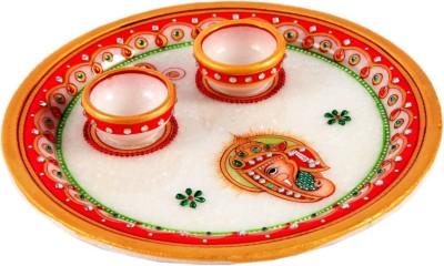 Treasure Hunt Ganesha Embellished Marble Pooja & Thali Set