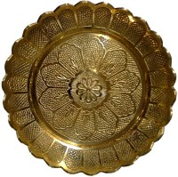 Divine Temples Flower Design (13 Cms) Brass Pooja & Thali Set(1 Pieces, Gold)