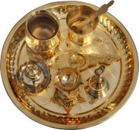 Putrika Brass Pooja & Thali Set(8 Pieces, Gold)