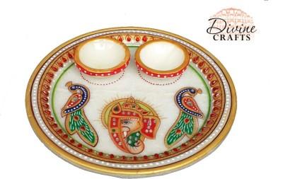 Divinecrafts Kundan Studded Marble Pooja & Thali Set