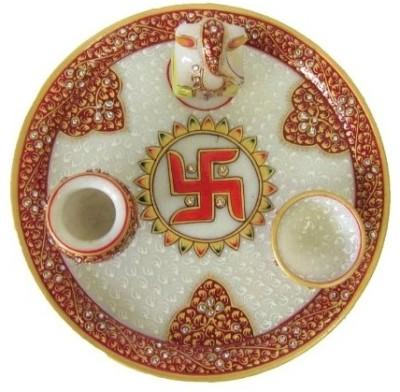 Traditional Rajasthan Hand Painted Marble Pooja & Thali Set