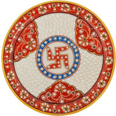 Gaura Art & Crafts GACMRMMPPT Stoneware Pooja & Thali Set(1 Pieces, Red)