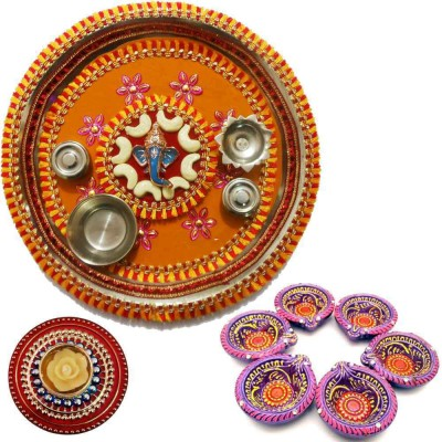 Tradition India Diwali Gift Diya TI126 Stainless Steel Pooja & Thali Set