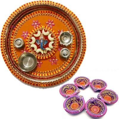 Tradition India Diwali Gift Diya TI119 Stainless Steel Pooja & Thali Set