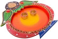 eCraftIndia Papier-Mache Elegant Multiutility Wooden Pooja & Thali Set(1 Pieces, Multicolor)