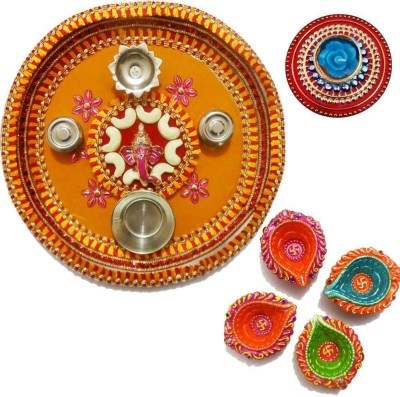 Tradition India Diwali Gift Diya TI067 Stainless Steel Pooja & Thali Set