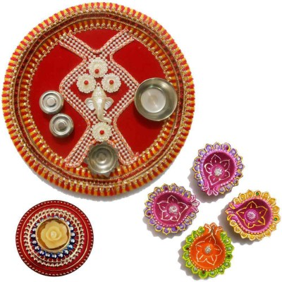 Tradition India Diwali Gift Diya TI106 Stainless Steel Pooja & Thali Set