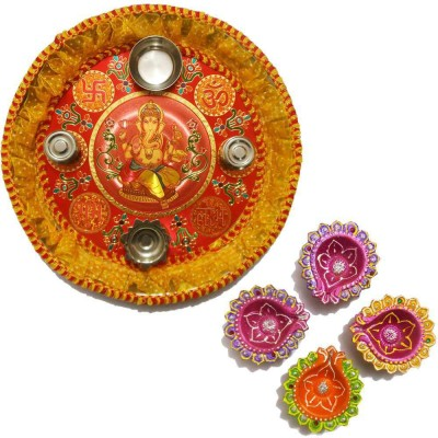 Tradition India Diwali Gift Diya TI055 Stainless Steel Pooja & Thali Set
