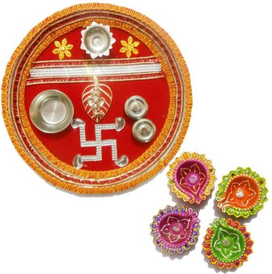 Tradition India Diwali Gift Diya TI018 Stainless Steel Pooja & Thali Set