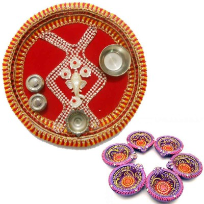 Tradition India Diwali Gift Diya TI121 Stainless Steel Pooja & Thali Set