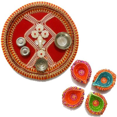 Tradition India Diwali Gift Diya TI044 Stainless Steel Pooja & Thali Set