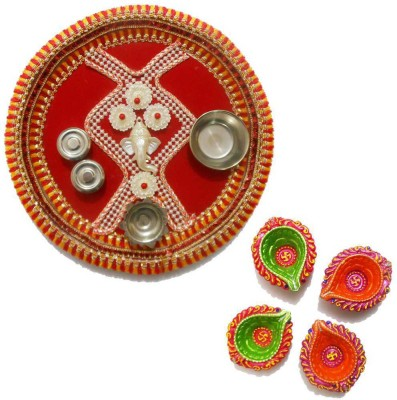 Tradition India Diwali Gift Diya TI030 Stainless Steel Pooja & Thali Set
