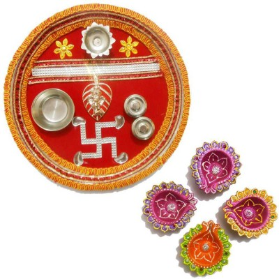 Tradition India Diwali Gift Diya TI053 Stainless Steel Pooja & Thali Set