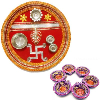 Tradition India Diwali Gift Diya TI122 Stainless Steel Pooja & Thali Set