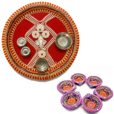 Tradition India Diwali Gift Diya TI120 Stainless Steel Pooja & Thali Set