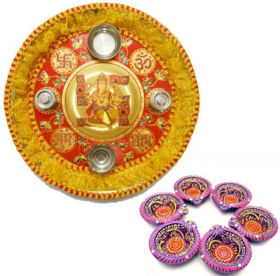 Tradition India Diwali Gift Diya TI123 Stainless Steel Pooja & Thali Set