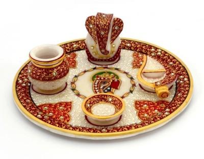 Stylla Shoppers Makrana Kundan Studded Marble Pooja & Thali Set