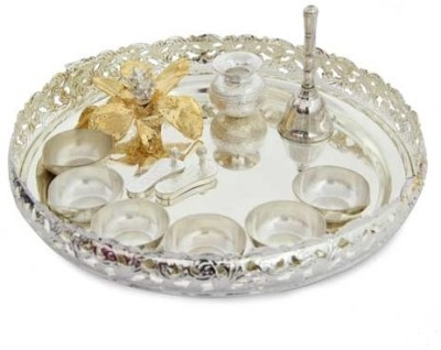Gifts By Meeta Silver Plated Pooja & Thali Set