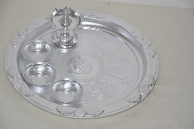 Seema's Creation Silver Plated Pooja & Thali Set