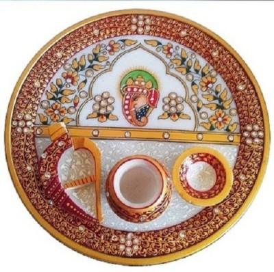 Ishita Handicrafts Marble Pooja & Thali Set