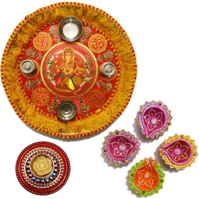 Tradition India Diwali Gift Diya TI110 Stainless Steel Pooja & Thali Set