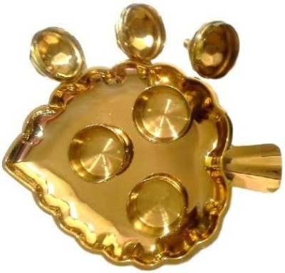 Divine Temples Attractive Pan Shape Plate - (17.5 cms) Brass Pooja & Thali Set(4 Pieces, Gold)