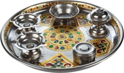 Abhushan Silver Plated Pooja & Thali Set
