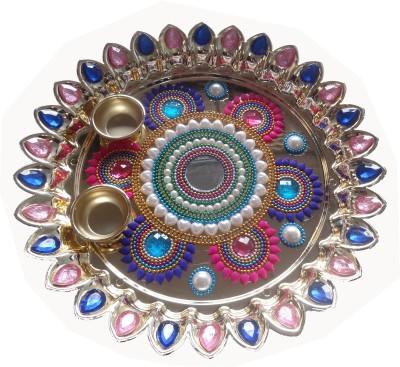 Darvesh Plastic Pooja & Thali Set(Blue, Pink, Multicolor)