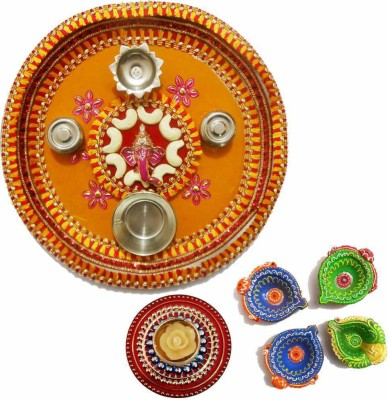 Tradition India Diwali Gift Diya TI063 Stainless Steel Pooja & Thali Set