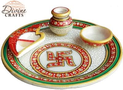 Divinecrafts Kundan Studded Swastik Marble Pooja & Thali Set