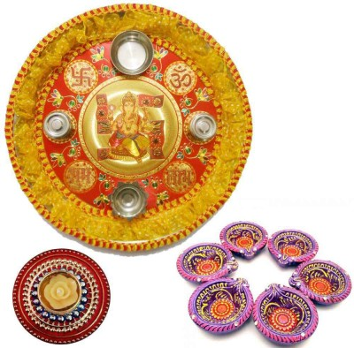 Tradition India Diwali Gift Diya TI130 Stainless Steel Pooja & Thali Set
