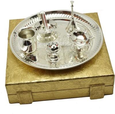 Adiidev Silver Plated Laxmi Ganesh Diwali Pooja Thali Set Brass Pooja & Thali Set(7 Pieces, Silver)