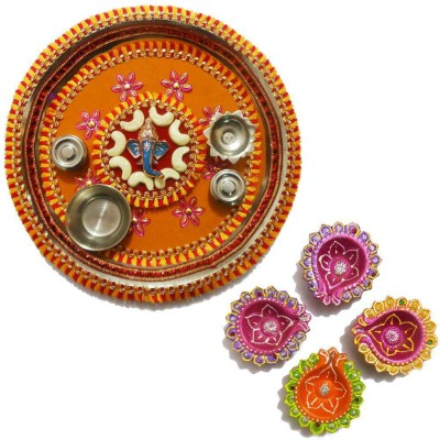 Tradition India Diwali Gift Diya TI049 Stainless Steel Pooja & Thali Set