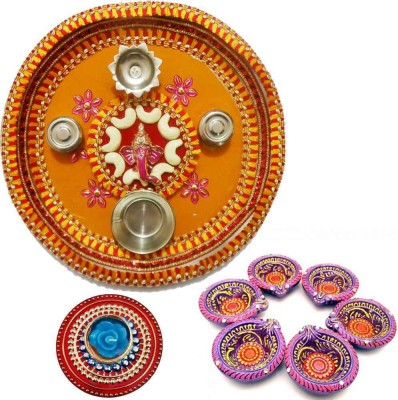 Tradition India Diwali Gift Diya TI125 Stainless Steel Pooja & Thali Set